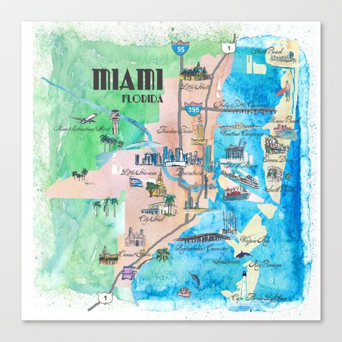Miami Florida Fine Art Print Retro Vintage Map with Touristic ... on