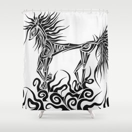 Tribal Horse Shower Curtain