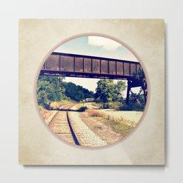 Railroad Tracks And Trestle Metal Print