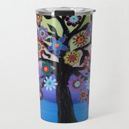Whimsical Blooming Love Tree of Life Painting Travel Mug
