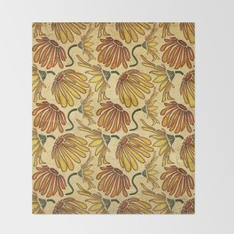 Retro 70's Golden Yellow Daisy Pattern  Throw Blanket