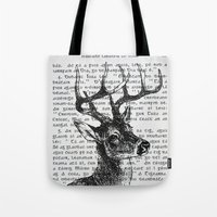 irish Tote Bags featuring Irish Deer by CrowBiz