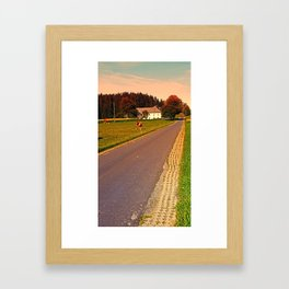Country road on summer morning | landscape photography Framed Art Print