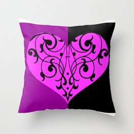 Gothic Victorian Black and Purple Heart Throw Pillow