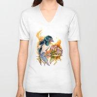 gemma V-neck T-shirts featuring Magpie by Gemma Pallat by ToraSumi