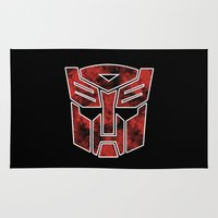 transformers Area & Throw Rugs featuring Autobots in flames - Transformers by Yiannis