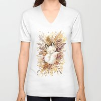 face V-neck T-shirts featuring Slumber by Freeminds