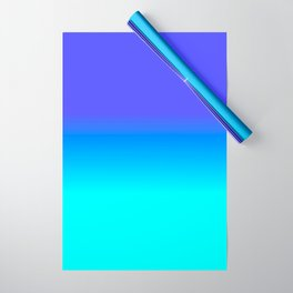 Neon Blue and Bright Neon Aqua Ombré Shade Color Fade Wrapping Paper