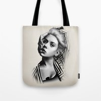 lip Tote Bags featuring Pulling Lip by BeckiBoos