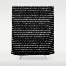 barbed wire stripe - black Shower Curtain