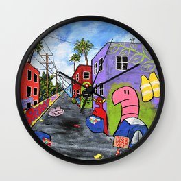 Los Angeles Alley by Mike Kraus - LA art street graffiti socal california houses homes colorful Wall Clock