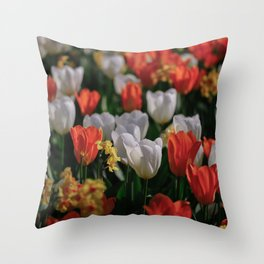 Colorful White and Orange Tulip Carpet Throw Pillow