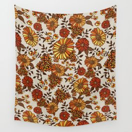 Retro 70s boho hippie orange flower power Wall Tapestry