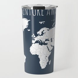 Adventure Awaits World Map in Navy Blue Travel Mug