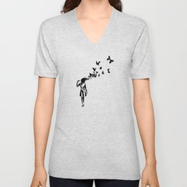 Banksy - Girl Shooting Her Head With Butterfly Design, Streetart Street Art, Grafitti, Artwork, Desi Unisex V-Neck