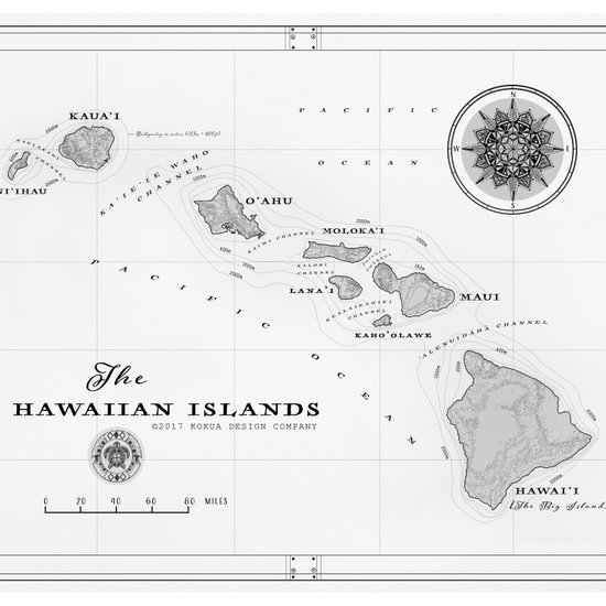 The Hawaiian Islands Black White Map Print Duvet Cover By