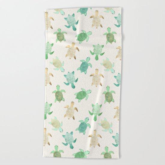 Gilded Jade & Mint Turtles Beach Towel