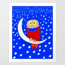 Owl lands on the moon Art Print