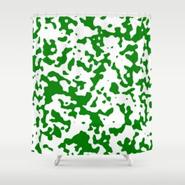Spots - White and Green Shower Curtain