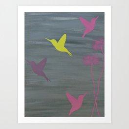 Birds in Flight(s) of Color- Gray  Art Print