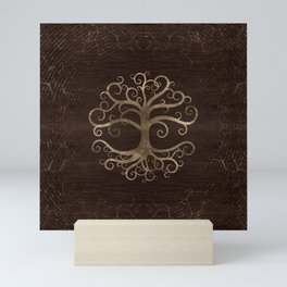Tree of life Gold on Wooden Texture Mini Art Print
