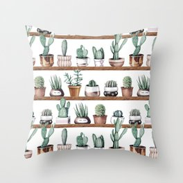Cactus Shelf Rose Gold Green Throw Pillow