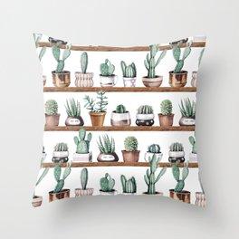 Cactus Shelf Rose Gold Green Throw Pillow