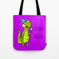 wizard Tote Bags featuring Wizard Lizard by Artistic Dyslexia