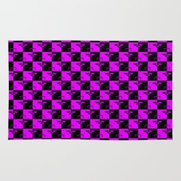 Hot Pink and Black Checkerboard Scales of Justice Legal Pattern Rug