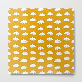 Dreaming clouds in honey mustard background Metal Print