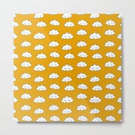 Dreaming clouds in honey mustard background Metal Print