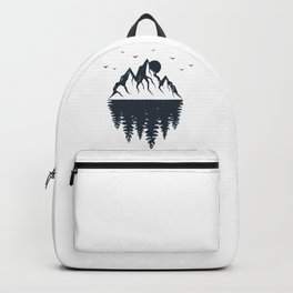 Mountains And Forest. Double Exposure. Geometric Style Backpack