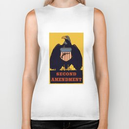 Vintage Second Amendment Sign with Eagle and Gun Biker Tank
