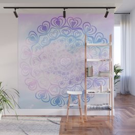 Heart Mandala on Unicorn Pastel Clouds #1 #decor #art #society6 Wall Mural