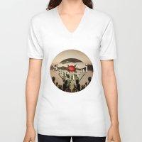 samurai V-neck T-shirts featuring samurai by Rosa Picnic