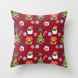 Xmas and Pugs Throw Pillow