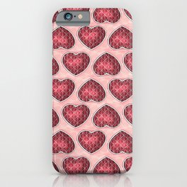 Wine Colored Hearts iPhone Case