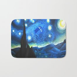 Tardis Flying Starry Night Bath Mat