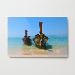Long Tail Boats in Krabi, Thailand Metal Print