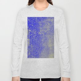 Vibrant Sky Blue & Gold Distressed Texture Long Sleeve T-shirt