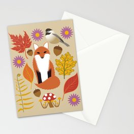 Autumn Fox and Forest Leaf Stationery Cards