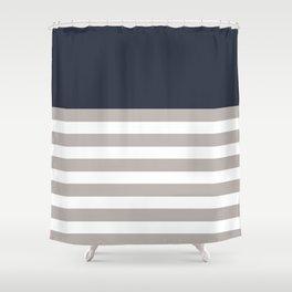Blue Bretton Stripe Art Shower Curtain