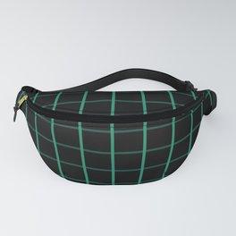 Large Elf Green on Black Grid Pattern   Fanny Pack
