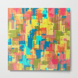 psychedelic geometric abstract pattern in blue pink green yellow brown Metal Print