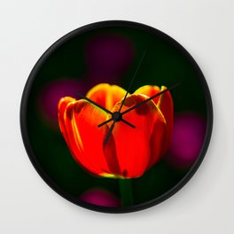 Red tulip flower Wall Clock