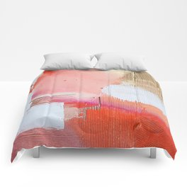 Moving Mountains: a minimal, abstract piece in reds and gold by Alyssa Hamilton Art Comforters