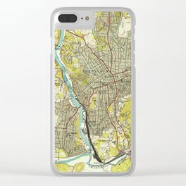 Vintage Map of Asheville North Carolina (1943) Clear iPhone Case