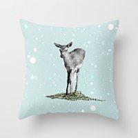 bambi Throw Pillows featuring Bambi by Monika Strigel