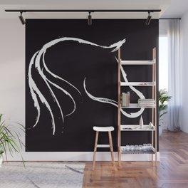 Horse white on black Wall Mural