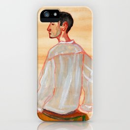 Young man with a white shirt iPhone Case